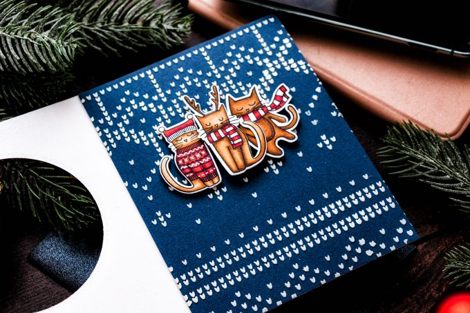 Simon Says Stamp | Meowy & Bright Catmas card by Yana Smakula #simonsaysstamp #catmas #stamping