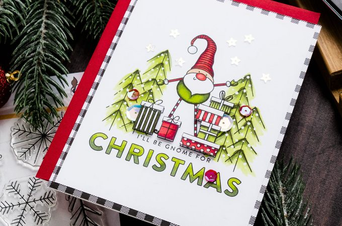Simon Says Stamp | December 2019 Card Kit - Gnome For The Holidays card by Yana Smakula #sssck #cardmaking #christmascard
