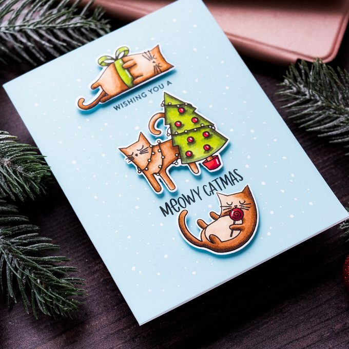 Simon Says Stamp | Meowy Catmas Christmas Card by Yana Smakula featuring MEOWY CATMAS sss102026 #simonsaysstamp #catcard #christmascard