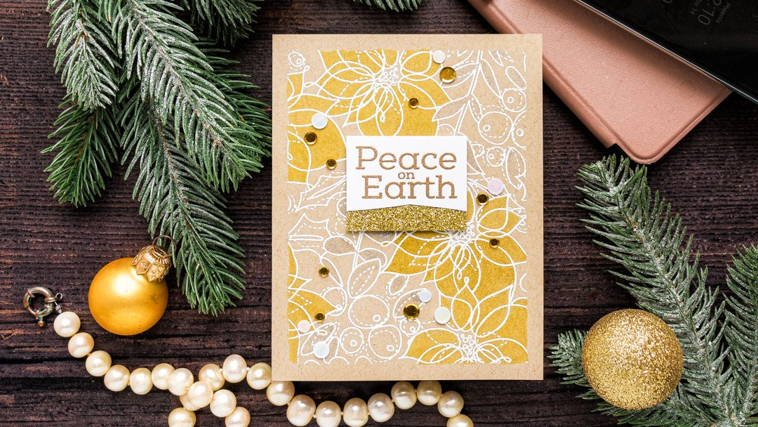 Simon Says Stamp | Peace On Earth Shimmer Christmas Card featuring WINTER FLORAL MIX BACKGROUND sss102023