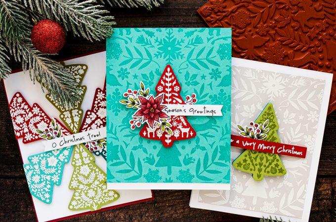 Color Layering Nordic Tree Cards by Yana Smakula for Hero Arts. Handmade Christmas Card #heroarts #christmascard #colorlayering