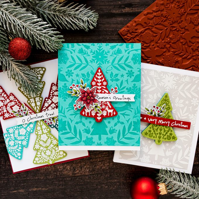 Color Layering Nordic Tree Cards by Yana Smakula for Hero Arts. Handmade Christmas Card #heroarts #christmascard #colorlayering