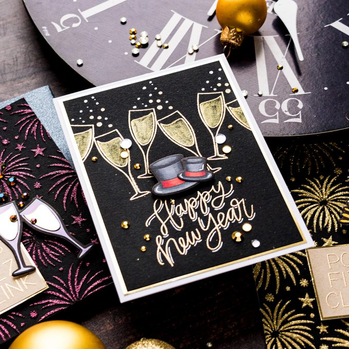 Pretty Pink Posh | Happy New Year Cards. Video tutorial by Yana Smakula #prettypinkposj #cardmaking #happynewyear