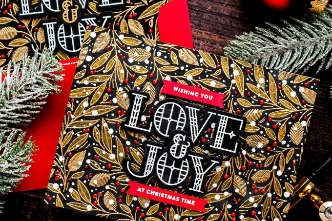 Simon Says Stamp | Love & Joy Modern Christmas Cards. Video tutorial by Yana Smakula featuring LEAVES AND BERRIES BACKGROUND sss102039 #simonsaysstamp #christmascard #stamping
