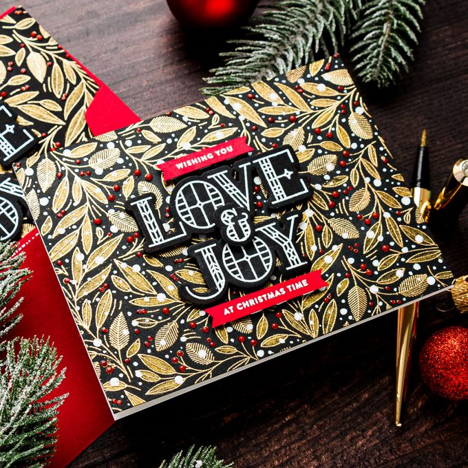 Simon Says Stamp   Love & Joy Modern Christmas Cards. Video tutorial by Yana Smakula featuring LEAVES AND BERRIES BACKGROUND sss102039 #simonsaysstamp #christmascard #stamping