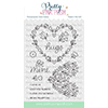 Pretty Pink Posh Large Floral Hearts Clear Stamps