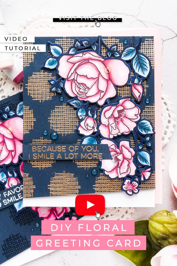 My Favorite Things | Dramatic Background for a Floral Card featuring MFT Rose Garden stamp set and Crosshatch Polka Dot Background stamp #cardmaking #stamping #mftstamps