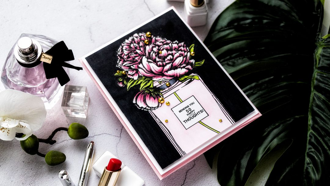 Colorado Craft Company | Cardmaking with Big & Bold Stamps - Perfume Bottle Card featuring Colorado Craft Company Big and Bold Perfume Bouquet Clear Stamps. Greeting card by Yana Smakula #stamping #cardmaking #copiccoloring