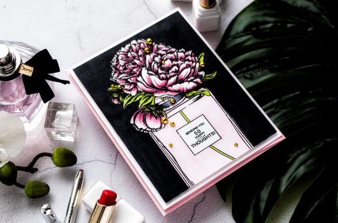Colorado Craft Company   Cardmaking with Big & Bold Stamps - Perfume Bottle Card featuring Colorado Craft Company Big and Bold Perfume Bouquet Clear Stamps. Greeting card by Yana Smakula #stamping #cardmaking #copiccoloring