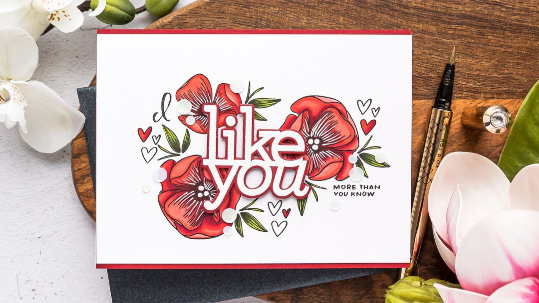 Simon Says Stamp | I Like You Floral Card. Video tutorial by Yana Smakula #cardmaking #simonsaysstamp #stamping