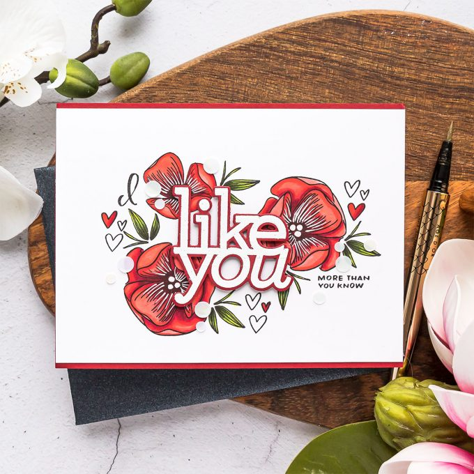 Simon Says Stamp   I Like You Floral Card. Video tutorial by Yana Smakula #cardmaking #simonsaysstamp #stamping