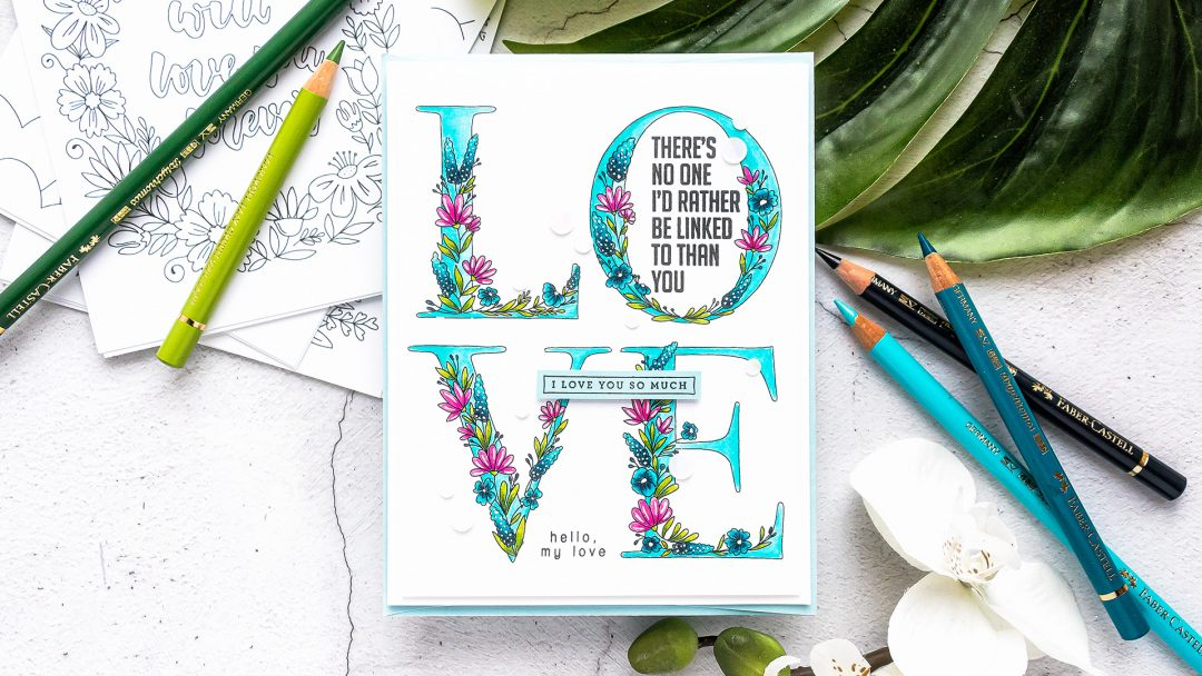 Simon Says Stamp | Love You More Valentine's Day Greeting Card featuring Polychromos colored pencil coloring and Suzy's Lots of Love Watercolor Prints SZWC19LV #simonsaysstamp #cardmaking #valentinesdaycard