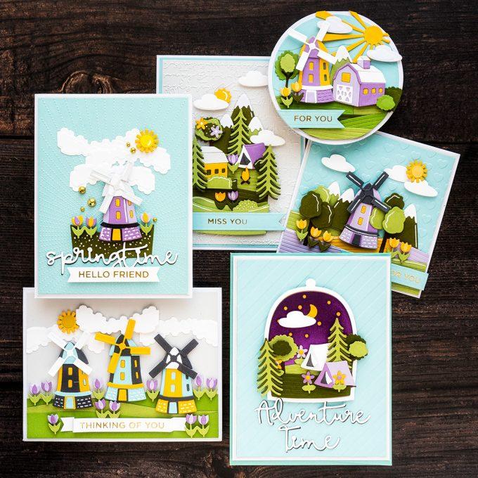 Spellbinders | Scenic Snapshot Cards by Yana Smakula featuring S4-1014 Santas Workshop Dies, S3-379 Adventure Time Snapshots Dies, S4-1020 Harvestime Snapshots, S4-1017 Springtime Snapshots #spellbinders #diecutting #cardmaking #NeverStopMaking