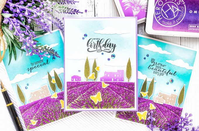 Hero Arts | Heroscapes - Lavender Field Cards. Video tutorial by Yana Smakula #heroarts #cardmaking #stamping