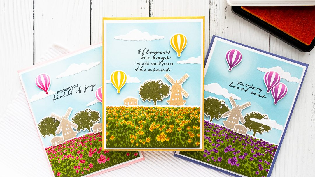 Hero Arts | Color Layering HeroScrapes Tulip Field Cards. Video tutorial by Yana Smakula #cardmaking #heroarts #heroscrapes #colorlayering