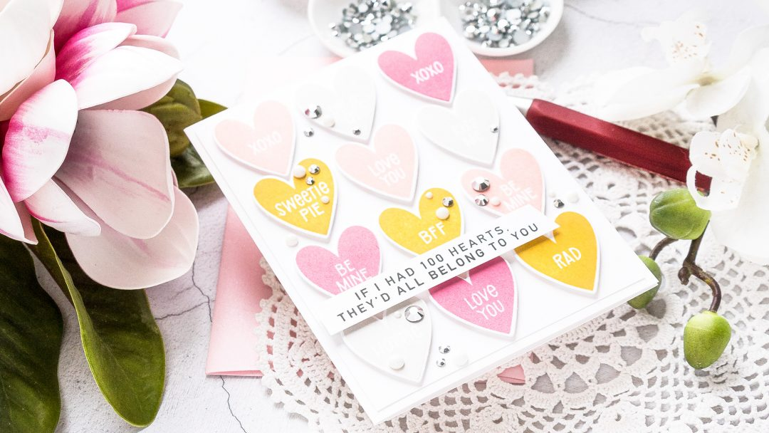 MFT Stamps | Conversation Hearts Valentine's Day Card. Video tutorial by Yana Smakula #mftstamps #cardmaking #valentinesdaycard