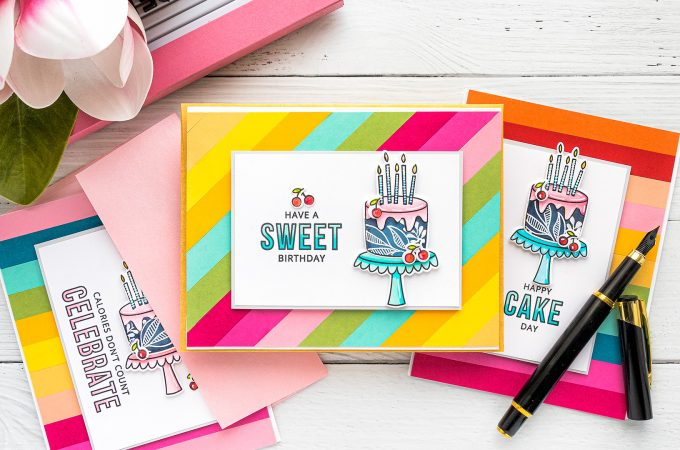 MFT Stamps | DIY Colorful Birthday cards. Video tutorial by Yana Smakula featuring Birthdays Take the Cake stamp set #MFTstamps #BirthdayCard #Cardmaking #Stamping