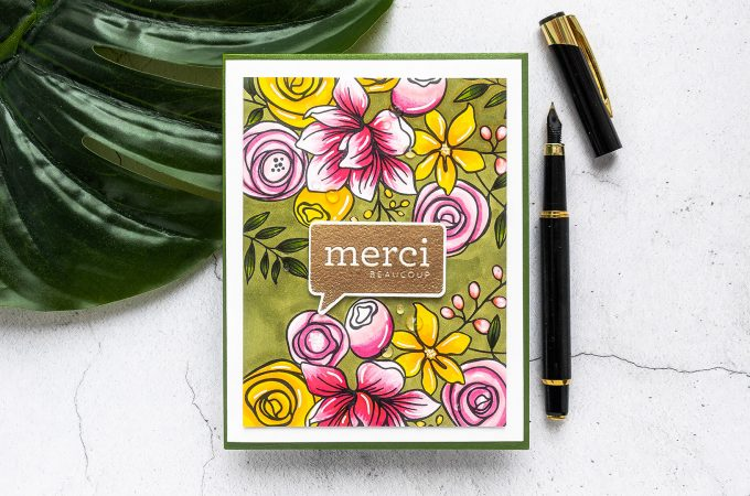 Simon Says Stamp | French Thank You Card by Yana Smakula featuring SKETCHED FLOWERS sss101830 and ALL THE THANKS cz40 #simonsaysstamp #cardmaking #stamping #thankyoucard