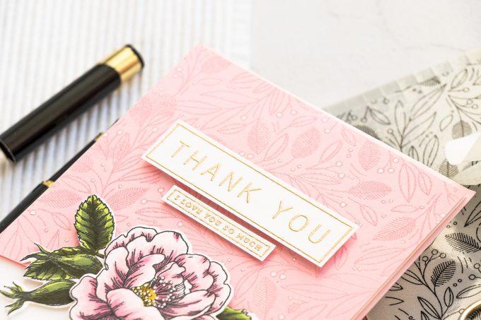 Simon Says Stamp | Floral Thank You Card by Yana Smakula featuring LEAVES AND BERRIES BACKGROUND sss102039, BEAUTIFUL FLOWERS sss101826 and GREETINGS MIX 1 sss201997 #simonsaysstamp #cardmaking #stamping #handmadecard