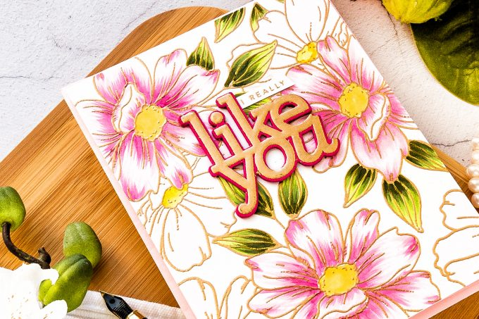 Simon Says Stamp | I Really Like You Floral Card by Yana Smakula featuring LOOK FOR THE RAINBOWS sss202067, LIKE YOU czd77 and LIKE YOU WORDS cz49 #simonsaysstamp #cardmaking #stamping