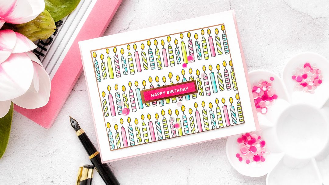 Pretty Pink Posh | Rows of Candles Birthday Card by Yana Smakula featuring Birthday Borders Stamp Set #prettypinkposh #birthdaycard #cardmaking