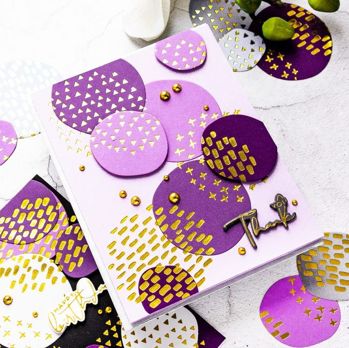 Spellbinders | Glimmer of the Month - Abstract Foiled Shapes Cards by Yana Smakula #cardmaking #hotfoil #glimmerhotfoilystem #spellbindersclubkits