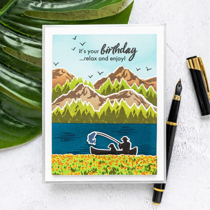 Hero Arts | Color Layering Mountains at the Lake Cards. Video tutorial by Yana Smakula #heroarts #colorlayering #cardmaking