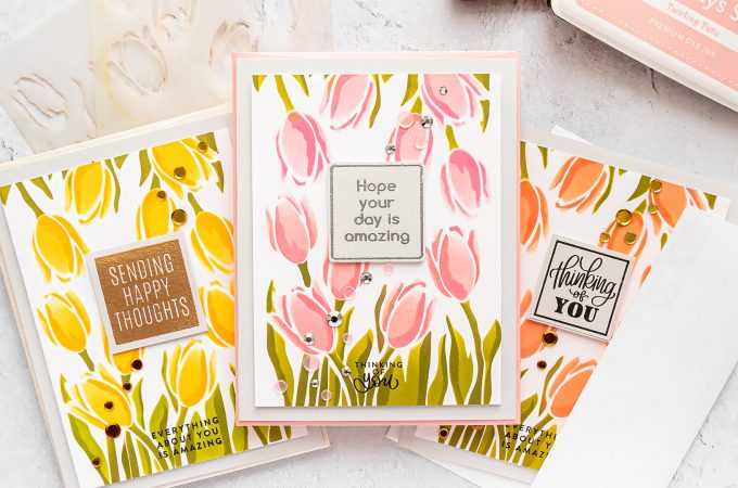 Simon Says Stamp | Spring Tulips Greeting Cards featuring Simon Says Stamp Stencil Layered Tulips #SimonSaysStamp #Cardmaking #HandmadeCard