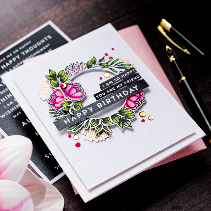 Simon Says Stamp | Floral Happy Birthday Card by Yana Smakula featuring ENTIMENT STRIPS ALL THINGS HAPPY sssg131013, LEAFY FRAMES sss201901 and Stencil EXTRA LARGE DOTS ssst121347 #simonsaysstamp #cardmaking #stamping