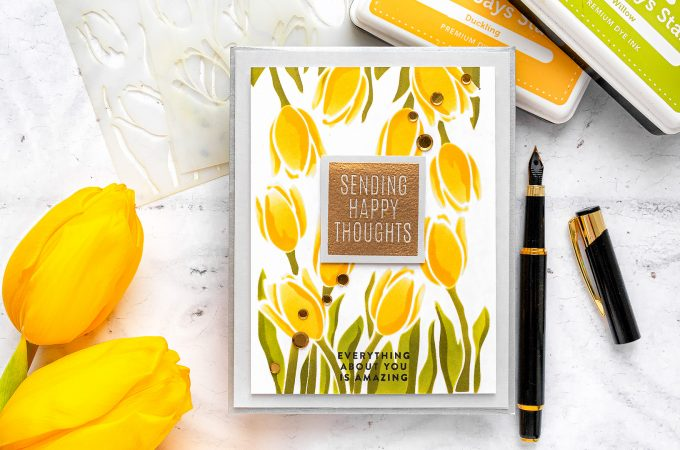 Simon Says Stamp | Layered Tulips Spring Greeting Card by Yana Smakula featuring Stencil LAYERED TULIPS ssst121476 #simonsaysstamp #cardmaking #stamping #greetingcard