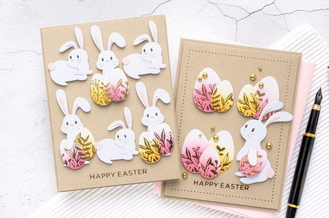 Spellbinders | Foiled Happy Easter Cards featuring March 2020 Clubs - Glimmer Hot Foil Kit of the Month – Eggstra Special; Large Die of the Month – Basket Full of Bunnies; Small Die of the Month – 24 Carrot #Spellbinders #NeverStopMaking #SpellbindersClubKits #EasterCard