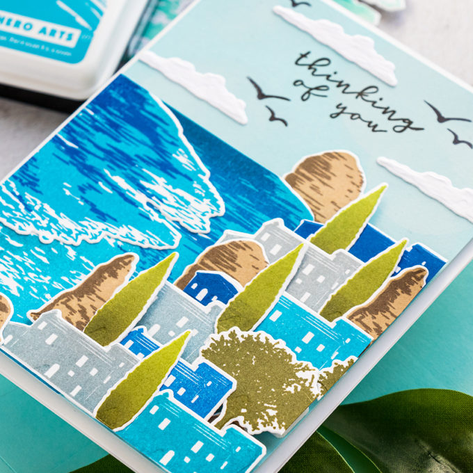 Hero Arts | Beach Heroscape Color Layering Cards. Video tutorial by Yana Smakula featuring CM447 BEACH HEROSCAPE #heroarts #cardmaking #handmadecards #colorlayering #stamping