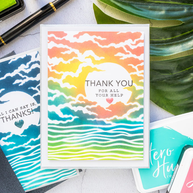 Hero Arts | April 2020 My Monthly Hero Kit - Ink Blended Thank You Cards. Video tutorial by Yana Smakula #heroartsmmh #heroarts #cardmaking #inkblending