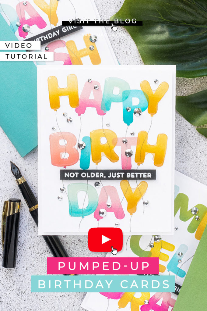 MFT Stamps | Pumped-Up Birthday Cards. Video tutorial by Yana Smakula #cardmaking #MFTstamps #stamping