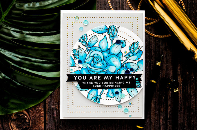Simon Says Stamp | Rose Pattern You Are My Happy Card featuring SPRING FLOWERS 4 sss202116 #simonsaysstamp #mothersdaycard #SSSunitedwecraft