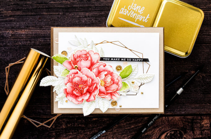 Simon Says Stamp | No Line Watercolor Roses - Inspired by Debby Hughes. Handmade card by Yana Smakula featuring BEAUTIFUL FLOWERS sss101826 and hot foiling #simonsaysstamp #cardmaking #handmadecard