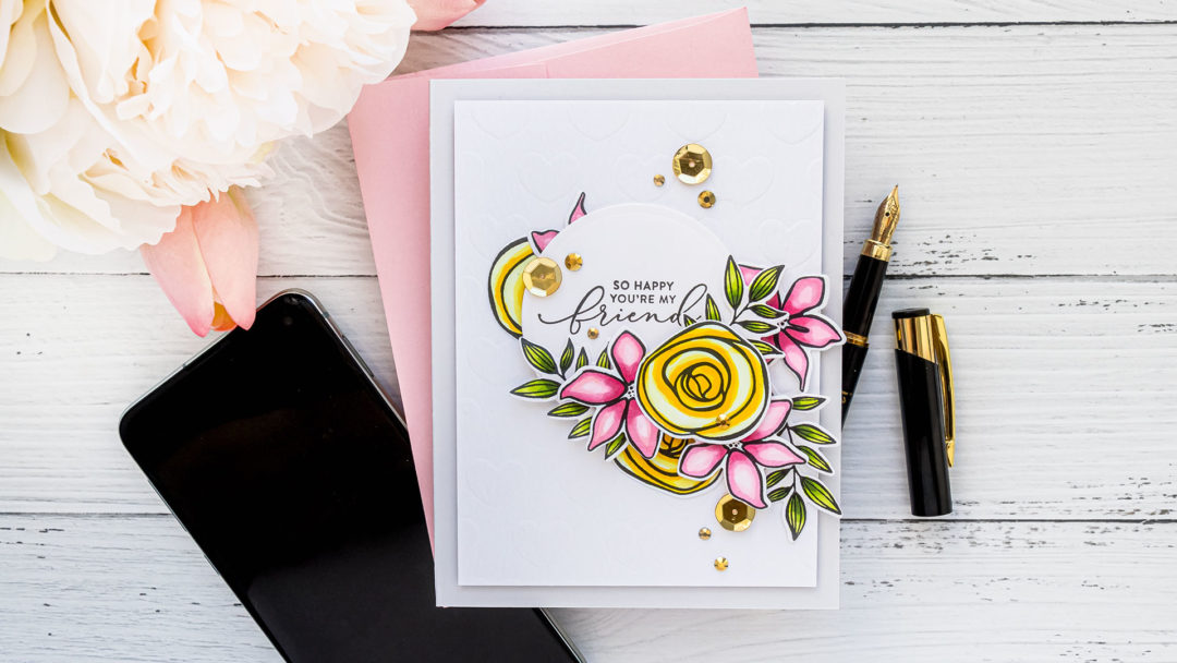 Simon Says Stamp | Floral Friendship Card - So Happy You're My Friend featuring SKETCHED FLOWERS sss101830 #simonsaysstamp #cardmaking #stamping