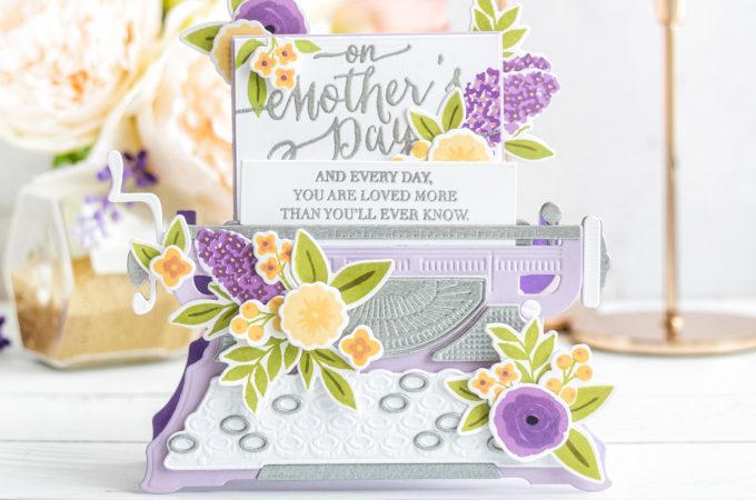 Spellbinders | Dimensional Typewriter Mother's Day Card. April 2020 Amazing Paper Grace Die of the Month Club. Video tutorial by Yana Smakula #Spellbinders #NeverStopMaking #Diecutting #SpellbindersClubKits #AmazingPaperGraceDieOfTheMonth