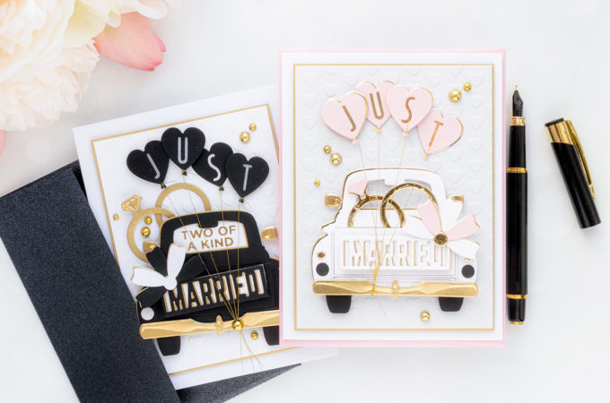 Spellbinders | Truck Wedding Cards with April Club Dies. Video tutorial by Yana Smakula #cardmaking #Spellbinders #SpellbindersClubKits #NeverStopMaking #DieCutting #WeddingCard