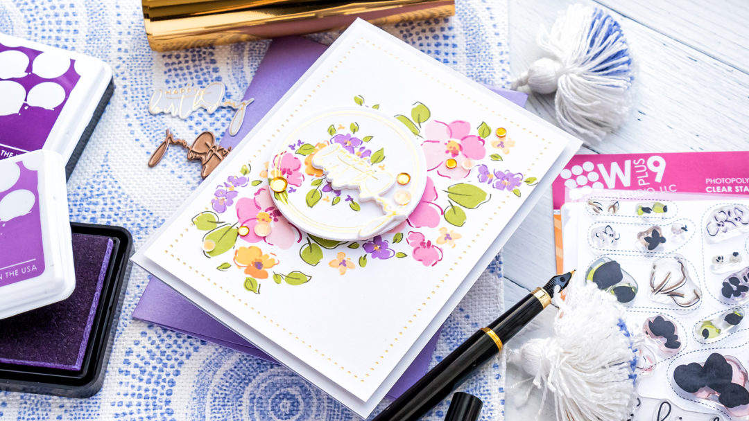 WPlus9 | Foiled Floral Birthday Card by Yana Smakula featuring WPlus9 Thinking of You stamp set + Spellbinders Yana's Foiled Sentiments #wplus9 #Spellbinders #hotfoiling #cardmaking