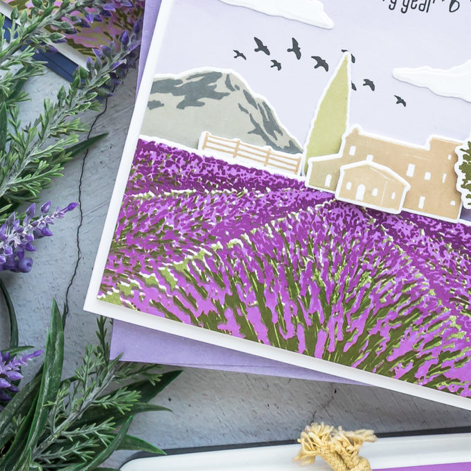 Hero Arts | Lavender Field Heroscape | Color Layering Card With Yana Series. Video tutorial by Yana Smakula #cardmaking #heroarts #colorlayering #stamping