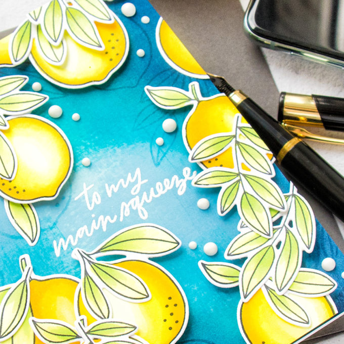 Citrus Card with My Favorite Things. Cardmaking process video & tutorial with Yana Smakula #MFTStamps #cardmaking #stamping #copiccoloring