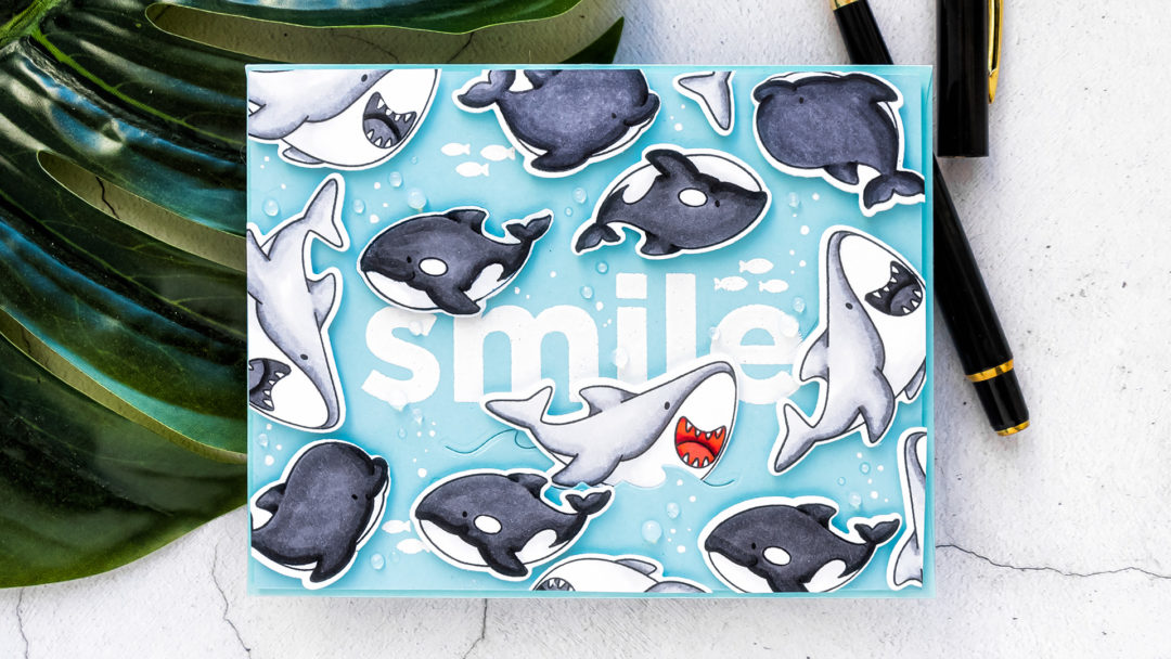 MFT Stamps | Shark Smile Greeting Card. Video tutorial by Yana Smakula #cardmaking #MFTstamps #stamping