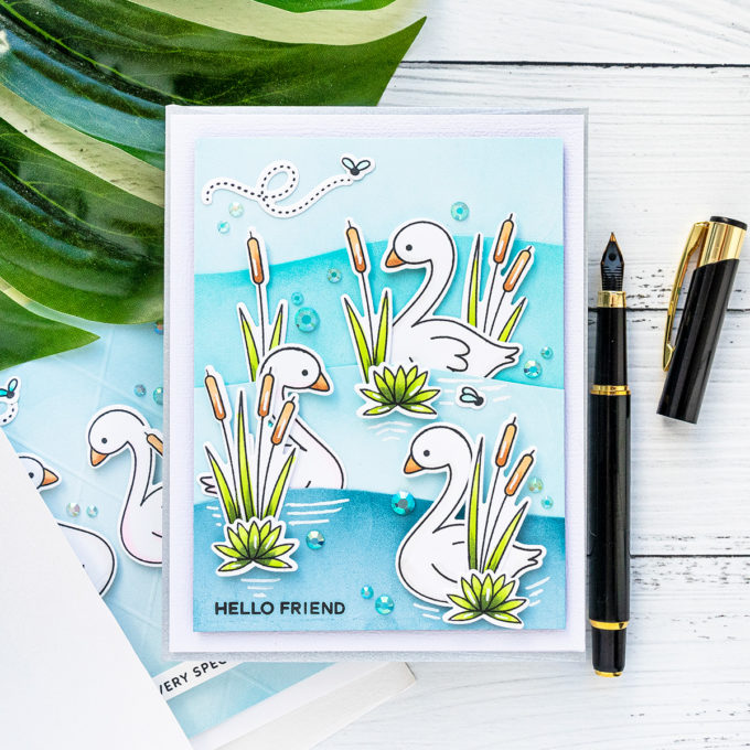 Pretty Pink Posh | Water Scene Cards with Pond Friends Stamps. Video tutorial by Yana Smakula #PrettyPinkPosh #cardmaking #stamping