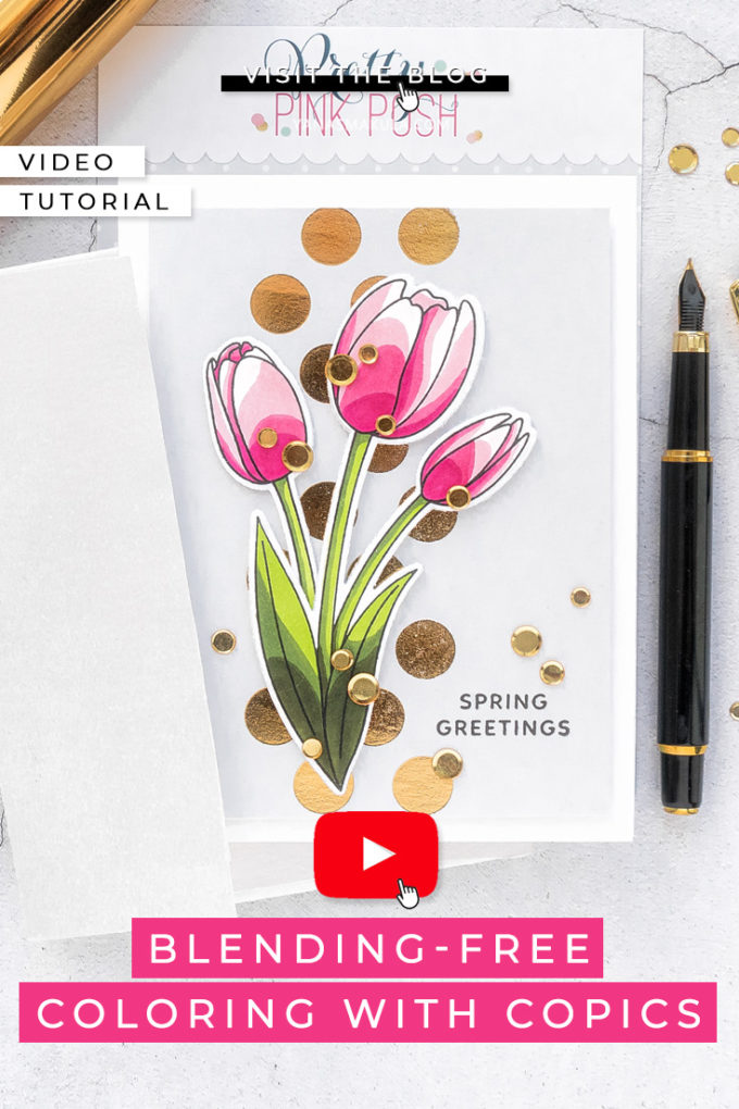 Pretty Pink Posh | Spring Tulips Copic Colored Greetings cards by Yana Smakula Featuring: Magnolia Flowers and Crocus Flowers stamp sets from Pretty Pink Posh #PrettyPinkPosh #Cardmaking #Stamping #CopicColoring