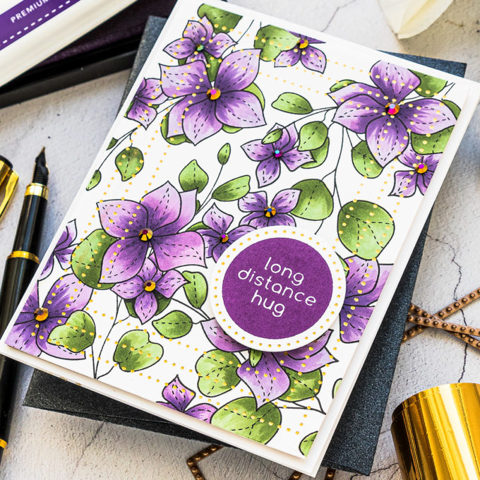 Simon Says Stamp | Pattern Stamping with Masking Paper featuring Simon Says Clear Stamps Spring Flowers 4 stamp set. Long Distance Hug Card by Yana Smakula #SimonSaysStamp #Cardmaking #Stamping #HandmadeCard