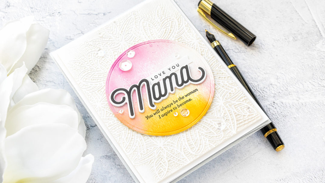 Simon Says Stamp | I Love You Mama Card by Yana Smakula featuring LOVE YOU MAMA CZ18, HEART MANDALA SSST121393 and Tonic RUSSIAN WHITE Nuvo Crackle Mousse 1397n #SimonSaysStamp #Cardmaking #Handmadecard