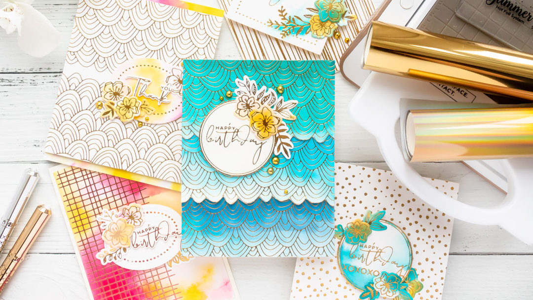 Hot Foil Stamping & Watercolor techniques combined with Spellbinders Glimmer Hot Foil System and Jane Davenport Mermaid Markers. Video tutorial by Yana Smakula #cardmaking #handmadecards #GlimmerHotFoilStaming #NeverStopMaking