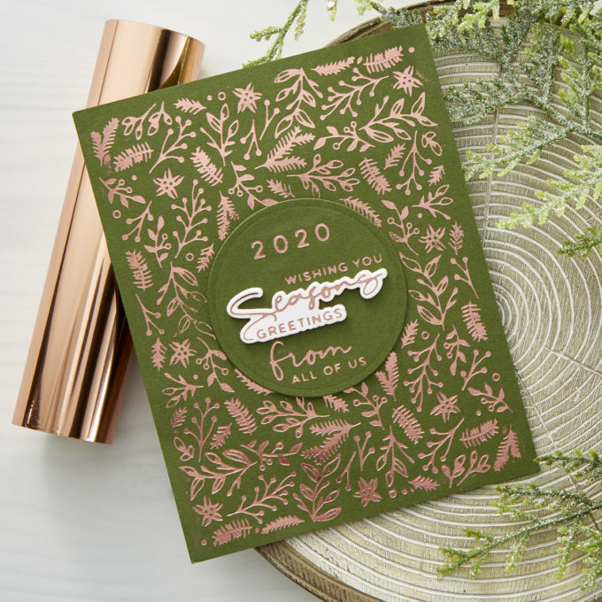 Spellbinders | Yana's Christmas Foiled Basics by Yana Smakula. Video tutorial & collection overview #Spellbinders #YanaSmakula #GlimmerHotFoilSystem #ChristmasCardmaking #Cardmaking