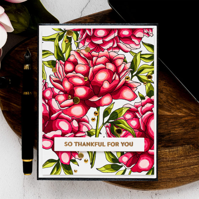 My Favorite Things | Blending Free Coloring with Peony Perfection stamp set. Video tutorial by Yana Smakula #mftstamps #cardmaking #copiccoloring